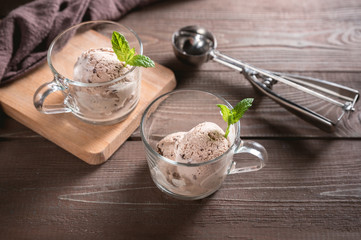 Homemade Chocolate Ice Cream in a cups