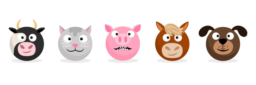 Farm animals and pets faces emoticons. Vector cartoon emojis. Illustration of emoticon animal face, cow and horse, piglet and dog