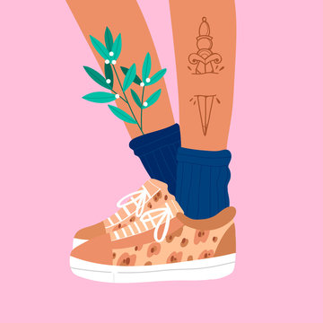 Female or male brown legs with dagger tattoo in the sneakers. Leopard print sport footwear. Cool stylish shoes. High navy socks. Hand drawn vector colored trendy fashion illustration. Flat design