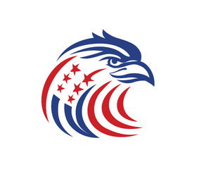 Abstract Patriotic American Eagle And Star Logo In Isolated White Background