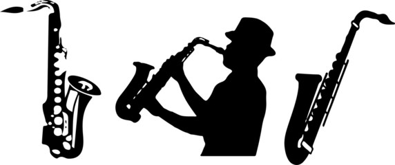 saxophone icon on white background Fotobehang
