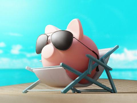 Piggy bank, saving money, 3d rendering