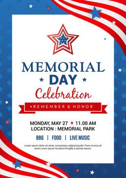 Memorial Day poster templates Vector illustration, USA flag with blue star frame. Flyer design