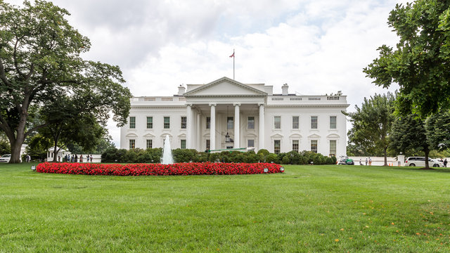 WASHINGTON, D.C - AUGUST 14, 2014: The White House / Side view with beautiful sky