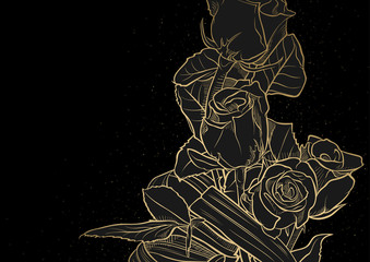 Golden Drawing of a Bouquet of Roses on a Black Background - Hand Drawn Illustration, Vector Graphic