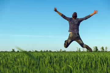 happy farmer enjoys harvest / good harvest gives good emotions
