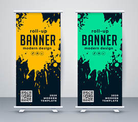 abstract ink splash rollup banner design