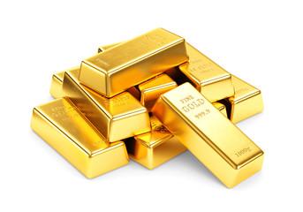 Gold bars pile isolated on white background