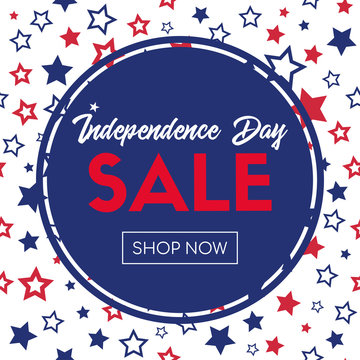 Independence day sale. Shop now. Vector banner template
