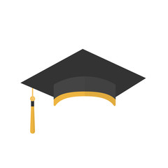 Graduation cap with tassel icon isolated on a white background