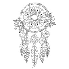 Hand drawn sketch illustration of Indian dream catcher for adult coloring book.