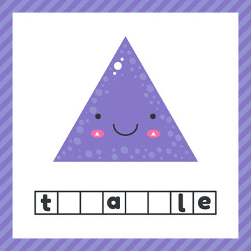 cute geometric figures for kids. Violet shape triangle isolated on white background with funny face. Educational logic worksheet for preschool and school age. Guess the word.