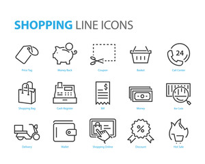 set of shopping icons, such as marketing, payment, cart, delivery, promotion, discount, promotion, shopping online