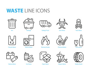 set of waste icons, such as garbage, recycle, pastic, glass