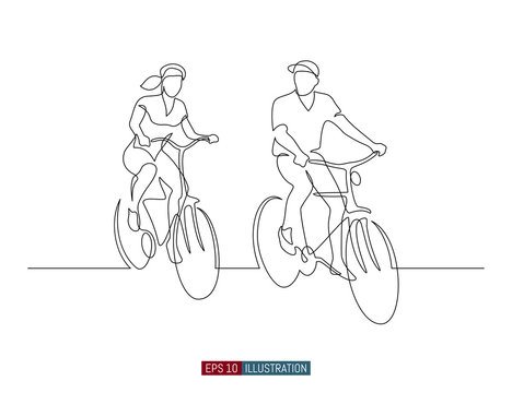 Continuous line drawing of man and woman riding bicycles. Template for your design works. Vector illustration.