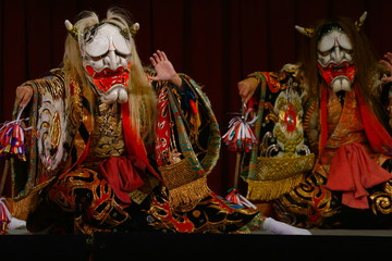 2 Japanese demons in Kagura performance