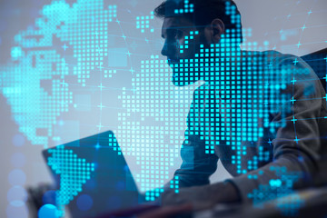 Fotobehang - Man with laptop, global technology network