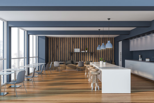 Gray and wooden pub interior with bar
