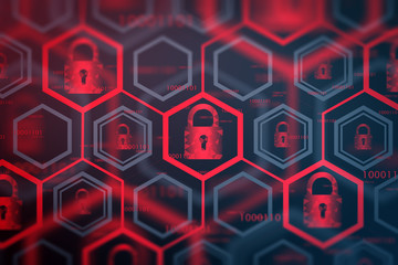 Fotobehang - Red online security interface background