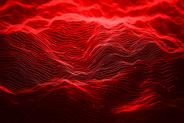 Abstract red neon light waves background