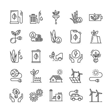 Monochrome illustrations of icons relating to the production and distribution of green energy, white background.