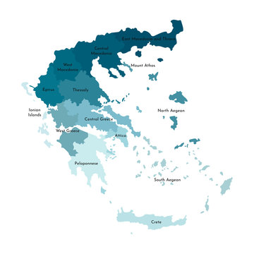 Vector isolated illustration of simplified administrative map of Greece. Borders and names of the regions. Colorful blue khaki silhouettes