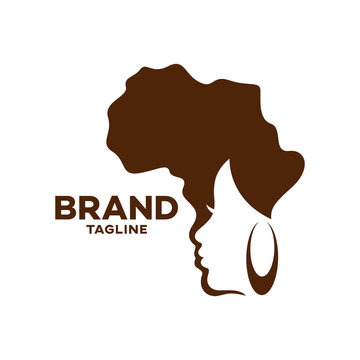 Modern logo beauty and African woman.