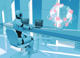Artificial intelligence, robot. Cyborg on the computer. Sci-fi. Science fiction. Programming. Earth map hologram. Globe, world explosions. Military defense. 3d render