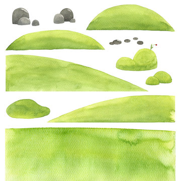 abstract watercolor texture, landscape elements, isolated illustration, stones