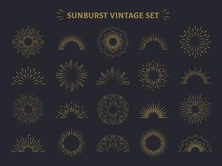 Sunburst set. Hand drawn sunrise firework sunset blast sunbeam burst sunshine ray decorative retro vintage vector line radial elements