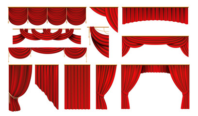 Realistic red curtains. Cinema and theater stage borders, 3D elegant backdrop folding drapery. Vector movie and opera interior silk