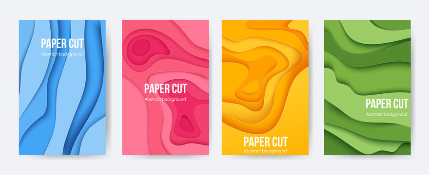 Paper cut posters. 3D background with abstract layer forms, minimal origami flyers, liquid paper shapes. Vector colourful cartoon flyers and brochures
