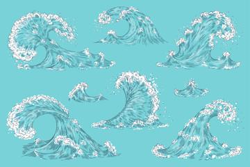 Hand drawn ocean wave. Vintage cartoon sea storm waves, tide water splash isolated elements. Vector swirl tsunami set