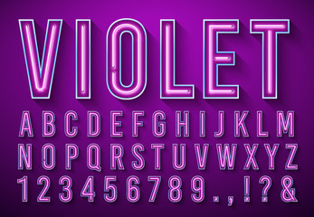 Bright neon letters. Violet glowing font, light box alphabet and neons lights lettering with shadow 3d vector illustration set Wall mural