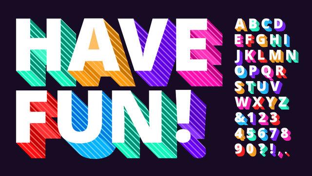 Colorful modern font. Striped 3d alphabet, funny lettering type and artistic vivid letters vector illustration set