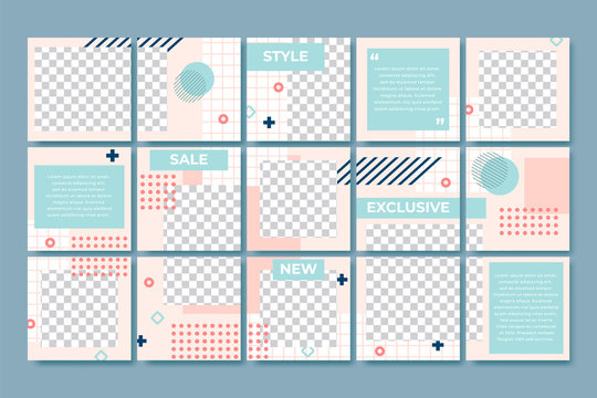 Memphis style post template. Social media posts branding, 80s fashion minimal grid and trendy abstract puzzle layout vector set