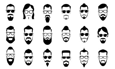 Male moustache, beard and haircut. Vintage moustaches silhouettes, man hairstyle and guy face portrait vector silhouette icons set