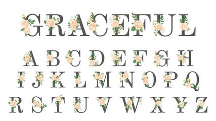 Floral font. Luxury wedding invitation flowers letters, flower stylish alphabet and rose monogram vector illustration set