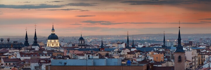 Wall Murals Madrid Madrid rooftop sunset view