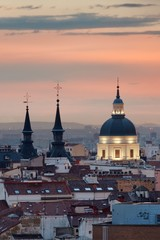 Fototapete - Madrid rooftop sunset view