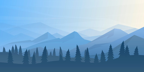 Fototapete - Peaceful landscape. Vector illustration. Minimalist style. Monotone colors. Wallpaper in the natural concept. Silhouettes of the mountains. Slopes, relief. Panoramic image