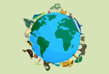 Planeta tierra con animales y plantas por la biodiversidad. Wall mural