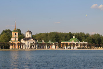 View of Kuskovo Park and historical architecture in Moscow Russia through the water channel on a spring day Fototapete