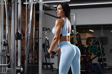 Fitness woman doing exercise for triceps. Beautiful buttocks in leggings. Sexy athletic girl workout in gym