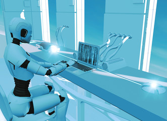 Artificial intelligence, robot. Cyborg on the computer. Science fiction. Sci-fi. Decoding and programming. Violation of privacy, hacked identity. 3d render