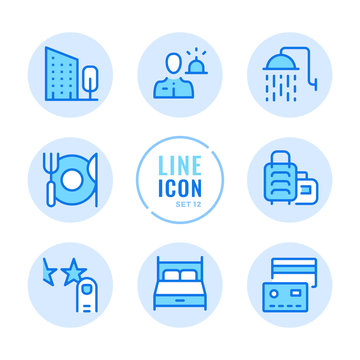 Hotel vector line icons set. Booking, room reservation, bed, shower, hotel amenities outline symbols. Modern simple stroke graphic elements. Round icons