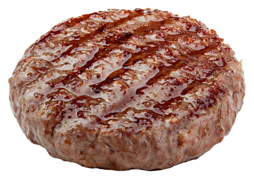 grilled hamburger meat isolated on white background, clipping path, full depth of field