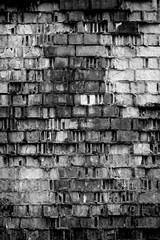 Foto auf Leinwand Graffiti Background of old ancient bricks wall. Black and White