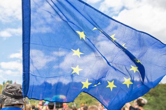 Close up on the European Union Flag on the Prague Pride parade.