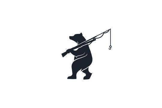 walking bear, bear holds fishing rod in hand, isolated design of bear